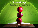 PowerPoint Template - Three red apple in balance on open book