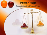 PowerPoint Template - Brass Scales of Justice showing comparison of apples to oranges