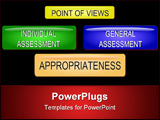 PowerPoint Template - Illustration of a conept of appropriateness and sustainability assessment buttons.