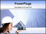 PowerPoint Template - Woman Holding Buildings