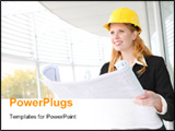 PowerPoint Template - A pretty young woman architect on building construction site