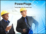 PowerPoint Template - An attractive business team working construction on the building site
