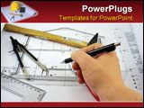 PowerPoint Template - architects hand on a desk over blueprint of a house