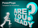 PowerPoint Template - The words Are You Ready in 3D blue and white letters