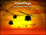 PowerPoint Template - illustration of american navyarmy helicopter blackhawk over sea sunset sky.