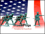 PowerPoint Template - A group of toy soldiers on an American flag.