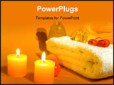 PowerPoint Template - aromatherapy with burning candles white towel and ingredient