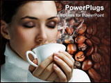 PowerPoint Template - Woman with an aromatic coffee in hands