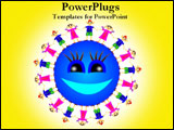 PowerPoint Template - A happy sun surrounded with children holding hands.