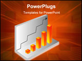 PowerPoint Template - chart flow in 3d orange block with arrow in background
