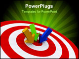 PowerPoint Template - Three varied colored arrows on target - rendered in 3d
