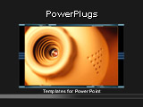 PowerPoint Template - his dark grey and orange template with close up web cam is ideal for computer and internet presenta