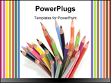 PowerPoint Template - A stack of color pencils isolated on white