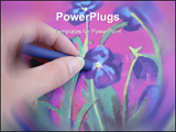 PowerPoint Template - Hand Drawing A Violet Flower With Crayon