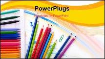 PowerPoint Template - Close up of group art school supplies