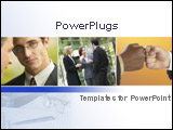 PowerPoint Template - lose up of a businessman and business team talking in front of building plus fist to fist on light