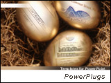 PowerPoint Template - 3 golden nest eggs. Ideal for financial, accounting, and business presentations