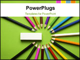PowerPoint Template - coloured pencils (collected in group on a green background)