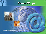 PowerPoint Template - 3d email sign and a businessman talking on a cell phone over a silver metal globe at the background