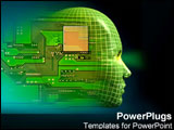 PowerPoint Template - Computerized human head immersed in technology.