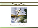 PowerPoint Template - Cross on Bible and white roses over white background