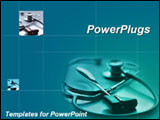 PowerPoint Template - Stethoscope and reflex hammer on blue and teal background
