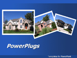 PowerPoint Template - his real estate blue template with 3 houses in photo frame will be a good choice for presentations