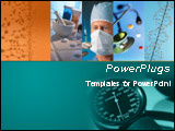 PowerPoint Template - his medical template with DNA double helix structures and medicine pills and doctor holding injecti