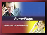 PowerPoint Template - Images of a man and a woman talking on the phone blend into blue and red background.