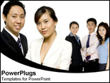 PowerPoint Template - Asian business coworkers stand together representing strength.