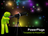PowerPoint Template - 3d image astronomer with telescope on a white background