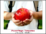 PowerPoint Template - Child holding red apple for teacher.