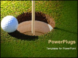 PowerPoint Template - golf ball at the rim of cup