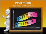 PowerPoint Template - positive attitude concept - colorful sticky notes handwriting and white chalk drawing on blackboard