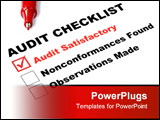 PowerPoint Template - Audit checklist with tick against audit satisfactory