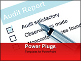 PowerPoint Template - Fountain pen over audit report with checkmark against audit satisfactory.