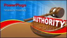 PowerPoint Template -  judge gavel and the word Authority symbolizing the control exercised by a person in a superior rol