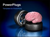 PowerPoint Template - d illustration of a pink human brain sitting on top of an automotive wheel and tire on a dark refle