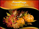 PowerPoint Template - An arrangement of maple leaves chrysanthemums and pumpkins isolated on a black background