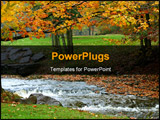 PowerPoint Template - beautiful autumn landscape with flowing river and changing trees.