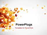PowerPoint Template - Flying autumn leaves background with space for text