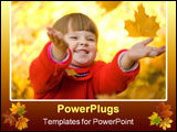 PowerPoint Template - Very cheerful child having fun while tossing up yellow leaves