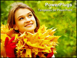 Charming woman in autumnal environment looking upwards