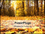 PowerPoint Template - Autumn forest scene vibrant yellow leaves on the ground