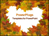 PowerPoint Template - Frame with colored autumn maple leaves