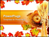 PowerPoint Template - Autumn leaves border with candle & wheat isolated on white
