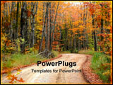 PowerPoint Template - Scenic drive way through colorful autumn trees