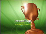 PowerPoint Template - Rendered 3d bronze cup on green background