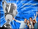PowerPoint Template - Awarding cup over white background. Computer generated image