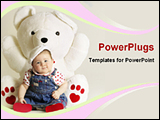 PowerPoint Template - baby with a big teddy bear